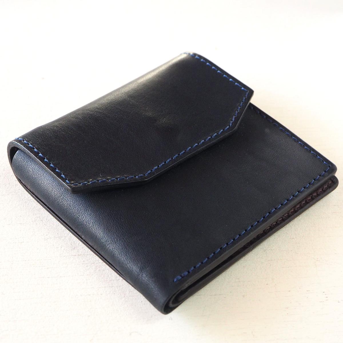 ANNAK(アナック) 栃木レザー コンパクト二つ折り ギャルソンウォレット オールレザー ネイビー[AK16TA-B0054-NVY] 2つ折り財布 レザーウォレット 革財布 革製品 革小物