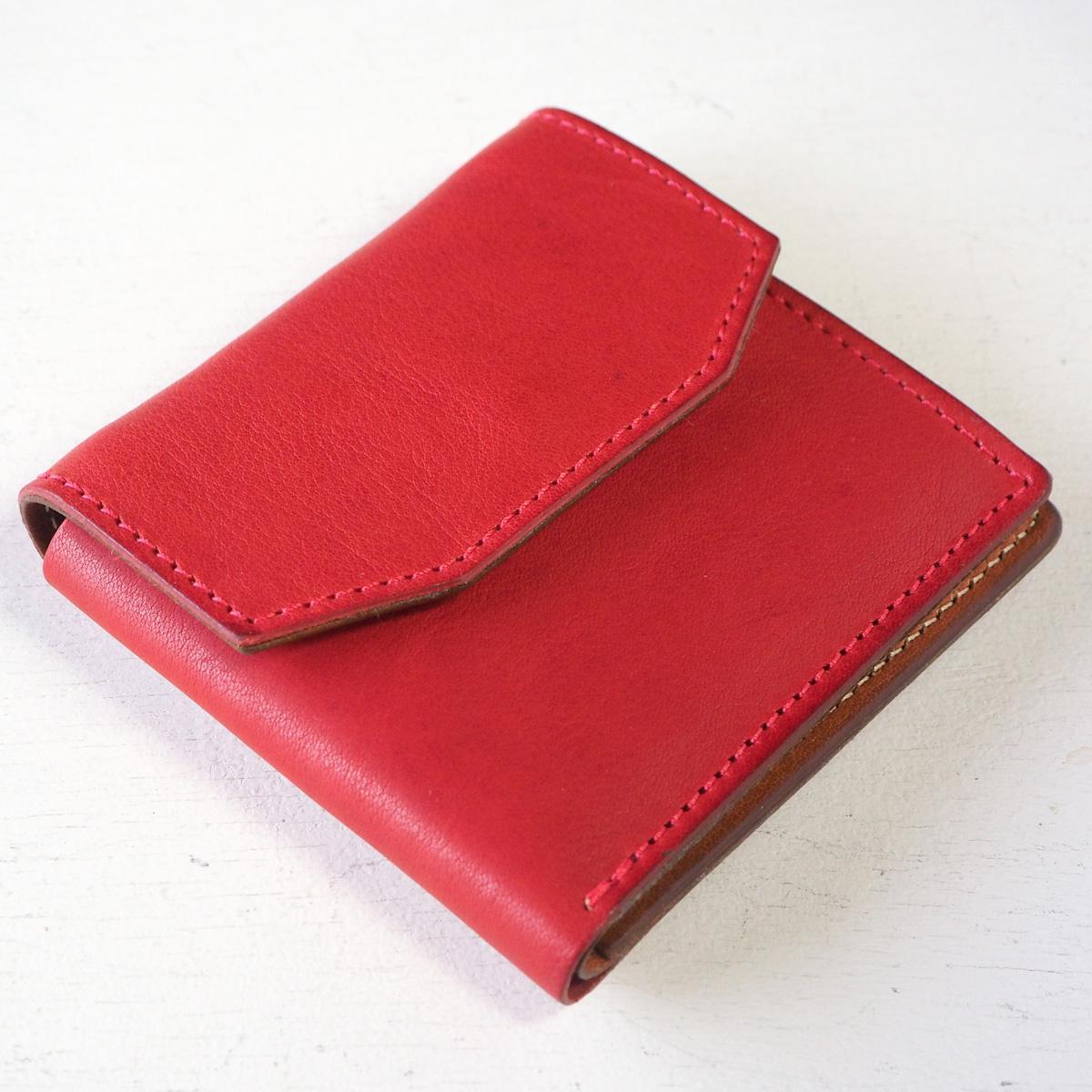 ANNAK(アナック) 栃木レザー コンパクト二つ折り ギャルソンウォレット オールレザー レッド [AK16TA-B0054-RED] 2つ折り財布 レザーウォレット 革財布 革製品 革小物