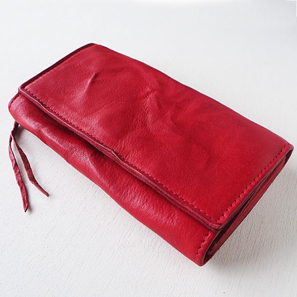 ANNAK(アナック) ウォッシュドレザー ロングウォレット レッド [AK17TA-B0059-RED] レザーウォレット 革財布 革製品 革小物