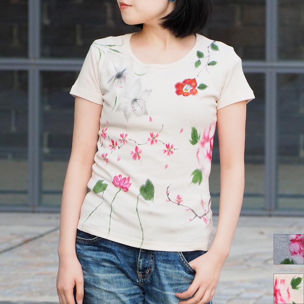 碧(あお) 手描き友禅 和柄 百華 Tシャツ 半袖 レディース [AO-TS-SS01]