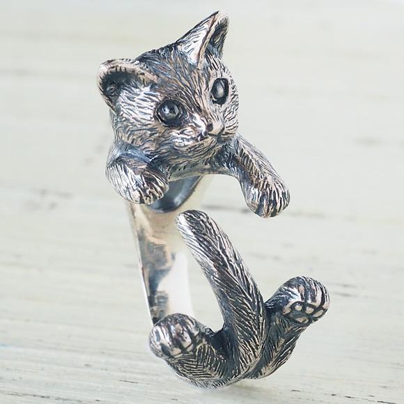 """銀工房AramaRoots(アラマルーツ)猫リング """"グリ"""" シルバー [AR51]"""