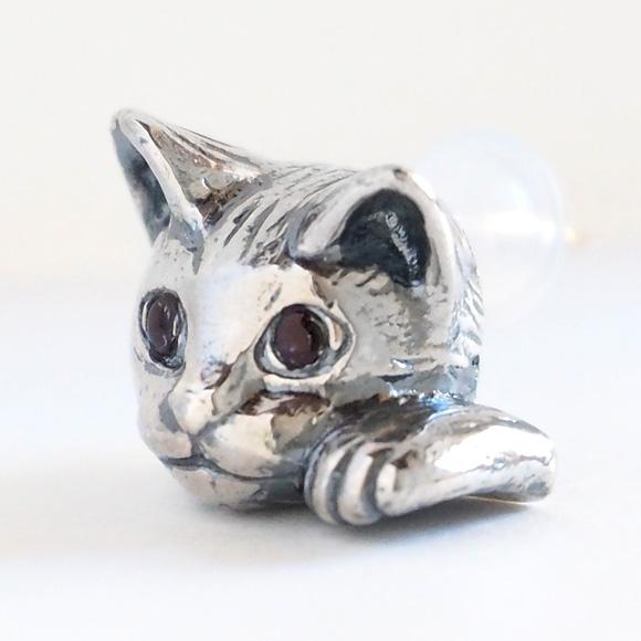 銀工房AramaRoots(アラマルーツ)猫ピアス ピクシー シルバー 片耳 [AY11]