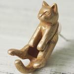 """【】銀工房AramaRoots(アラマルーツ)猫ピアス """"グリ"""" 真鍮 アンティーク 片耳 [AY12-A]"""