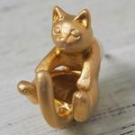 """【】銀工房AramaRoots(アラマルーツ)猫ピアス """"ラテュ"""" 真鍮 ゴールド 片耳 [AY13-G]"""