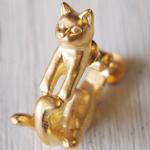 """【】銀工房AramaRoots(アラマルーツ)猫イヤリング """"グリ"""" 真鍮 ゴールド 片耳 [AY14-G]"""