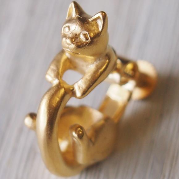 """銀工房AramaRoots(アラマルーツ)猫イヤリング """"ラテュ"""" 真鍮 ゴールド 片耳 [AY15-G]"""