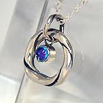 """銀工房AramaRoots(アラマルーツ) シルバーネックレス""""和柄ノ京銀""""銀ひねり「麗」 蒼紅色 [KL1BT]"""
