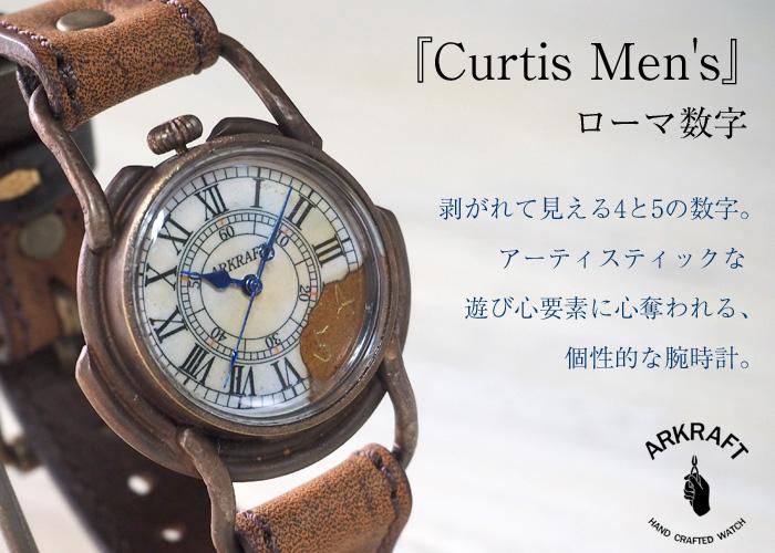 """手作り腕時計 """"Curtis jumbo −カーティス ジャンボ−"""" ローマ数字 プレミアムストラップ [AR-C-002-RO]"""
