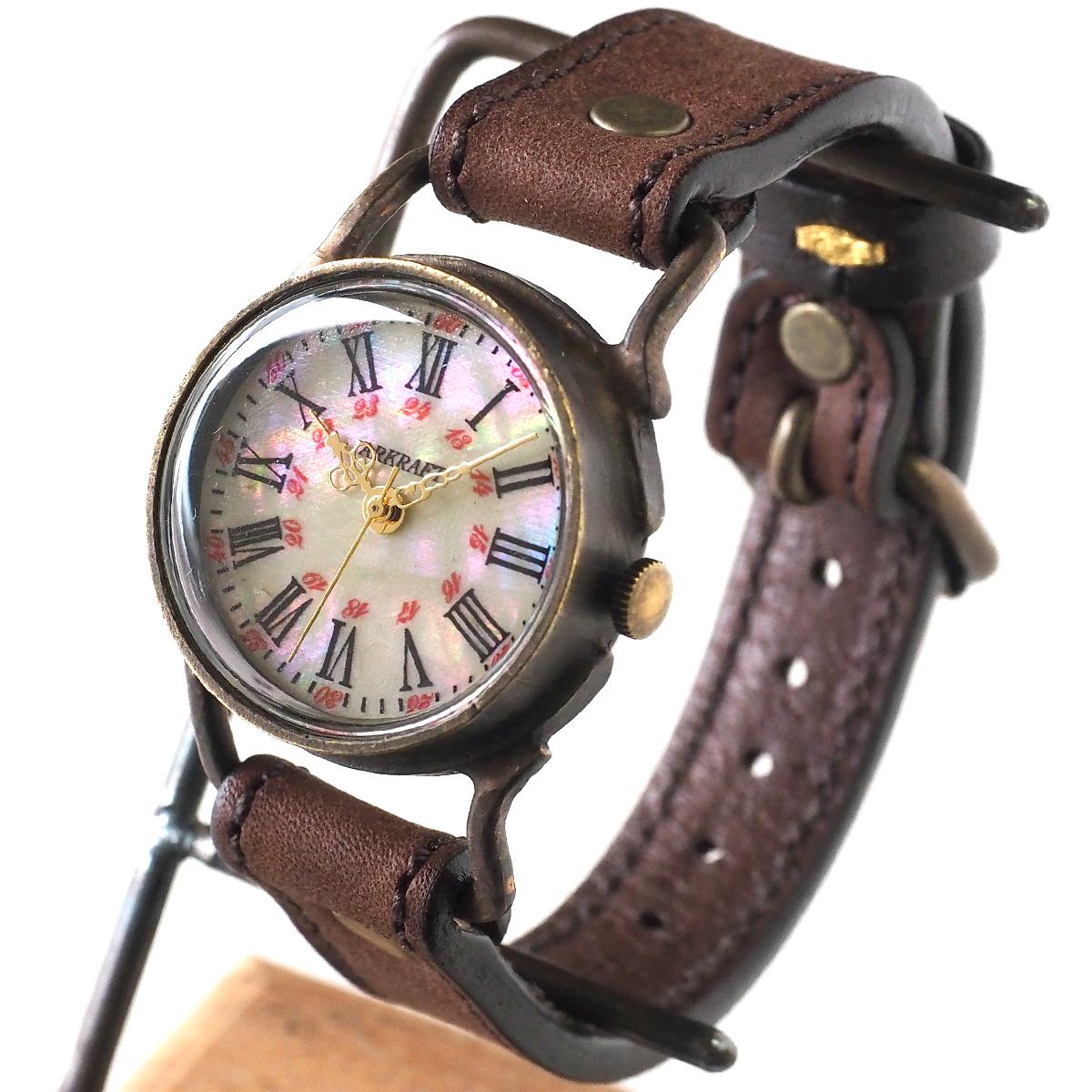 "ARKRAFT(アークラフト) 時計作家・新木秀和 手作り腕時計 ""Drake Medium""シェル文字盤 赤ドット プレミアムストラップ [AR-C-020-BL-RD]"