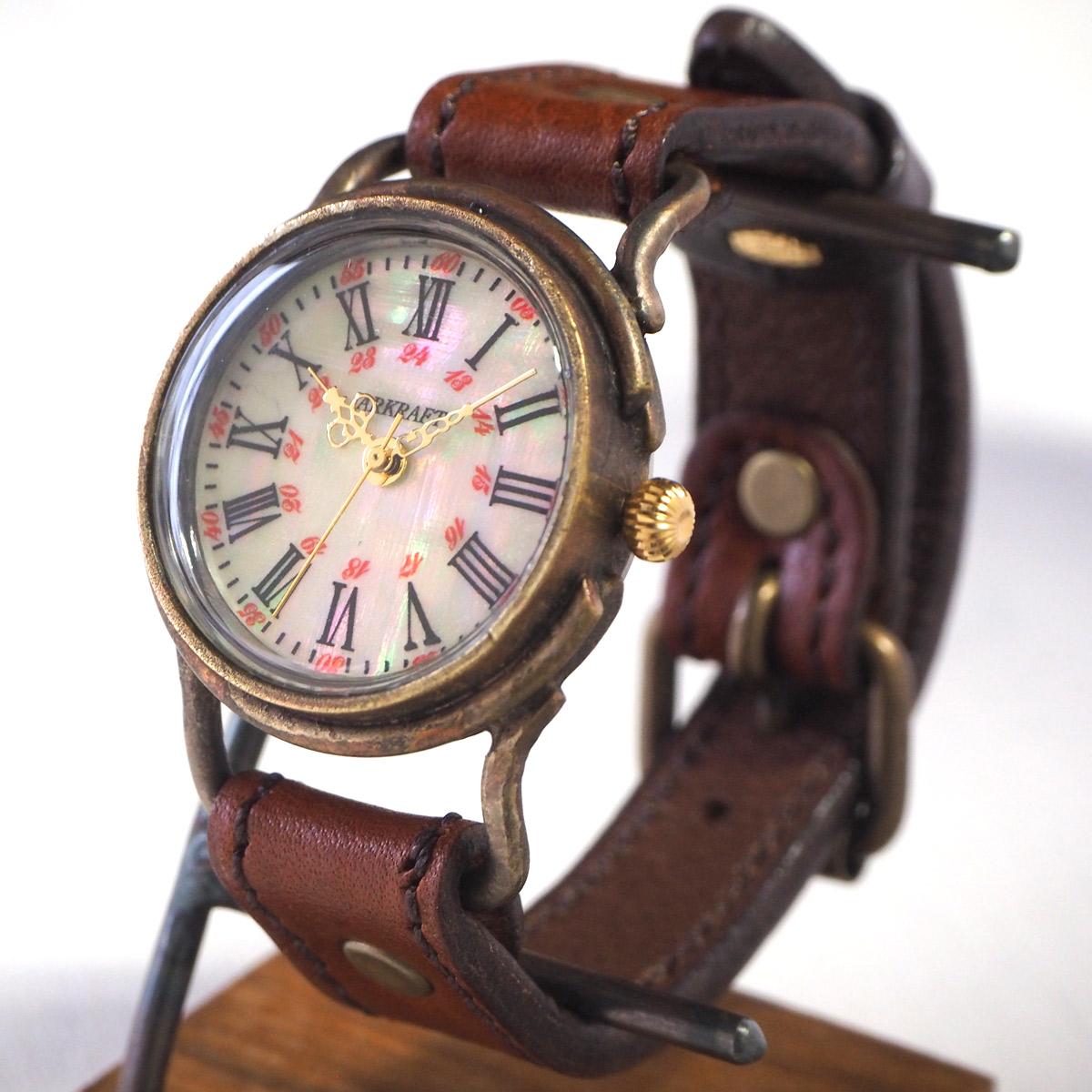 "ARKRAFT(アークラフト) 時計作家・新木秀和 手作り腕時計 ""Drake Medium"" シェル文字盤 赤ドット プレミアムストラップ [AR-C-020-BL-RD]"