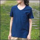 【11色から選べます】 手染メ屋 吊り編み天竺 天然染め オーガニックVネックTシャツ 半袖 メンズ [KT-002]