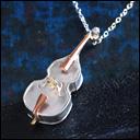 small right(スモールライト) 手作りアクセサリー  奏者のためのコントラバス ネックレス シルバー [SR-NL-12]