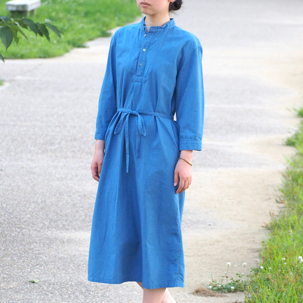 BLUE LOOM (ブルールーム)フィッシャーマンワンピース ライトインディゴ 九分袖 レディース [BL-FSOP3006-LID]