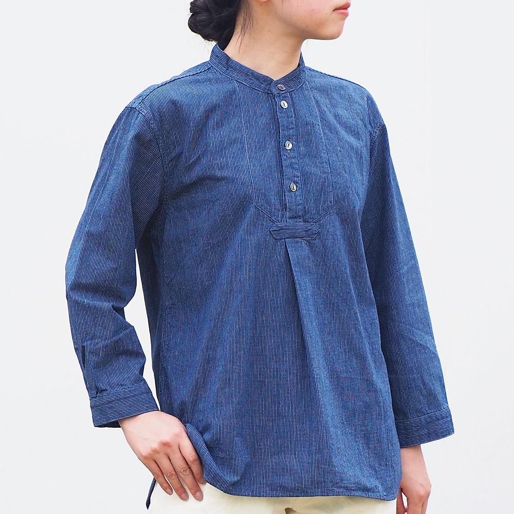 BLUE LOOM (ブルールーム) フィッシャーマン プルオーバーシャツ 七分袖 ストライプ レディース [BL-FSSH-3006-ST]