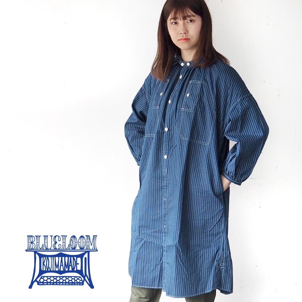 >BLUE LOOM (ブルールーム) マキニョンワンピース インディゴウォバッシュ 8分袖 レディース [BL-MQOP-0112-WA]
