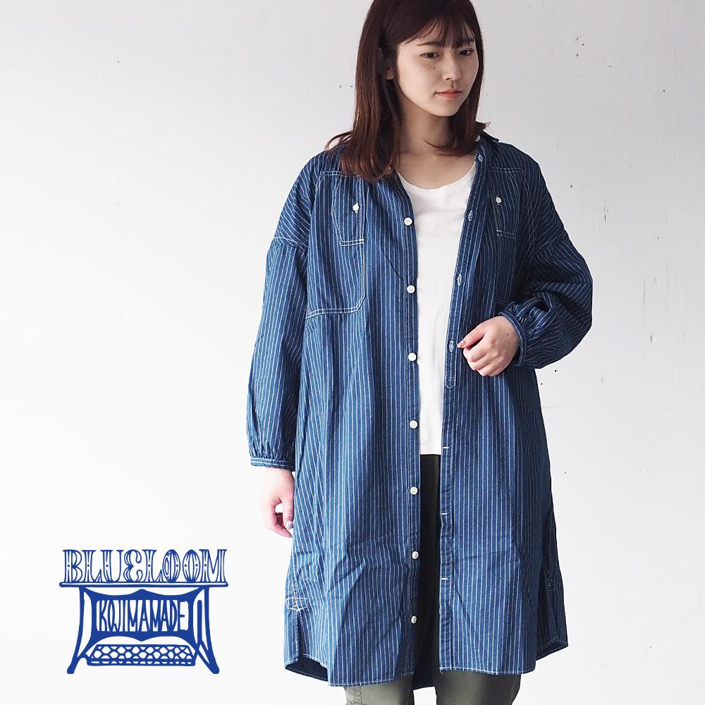 >BLUE LOOM (ブルールーム) マキニョンワンピース よろけ縞 付け襟 8分袖 レディース [BL-MQOP-3011-WA]