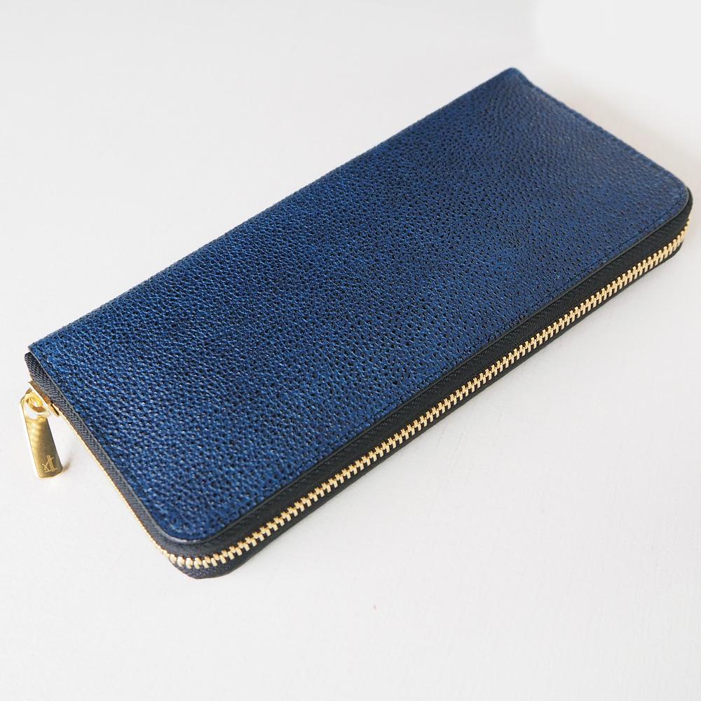 COTOCUL(コトカル) ラウンドファスナー長財布 黒桟革(くろざんがわ) 藍染め [KCRW0002-AI]