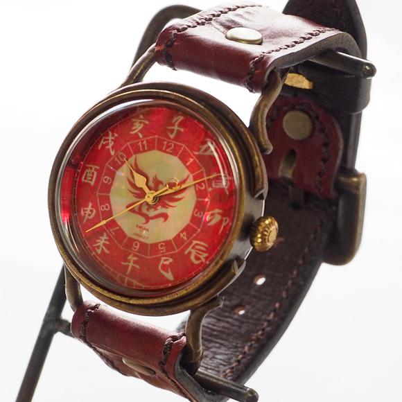 達磨(だるま)手創り腕時計 「朱雀」 螺鈿(らでん)文字盤 [DW0002-02]