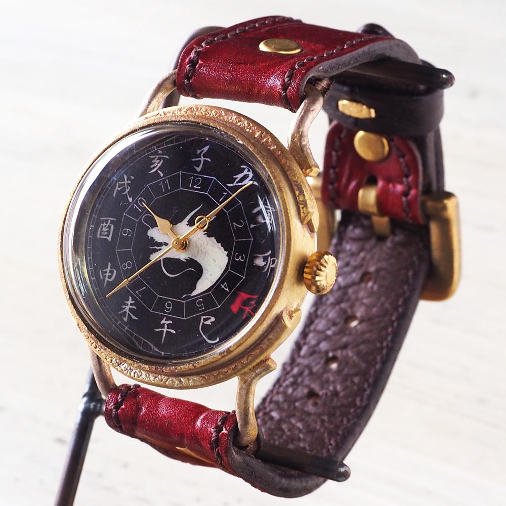 達磨(だるま) 手創り腕時計「赤龍」 螺鈿(らでん)文字盤 ノーマルベルト[DW0002-06]
