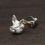 DECOvienya(デコヴィーニャ) 手作りアクセサリー ブタピアス ホワイト 片耳 [DE-052W]