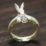 DECOvienya(デコヴィーニャ) 手作りアクセサリー ウサギの宝物リング ホワイト[DE-067W]