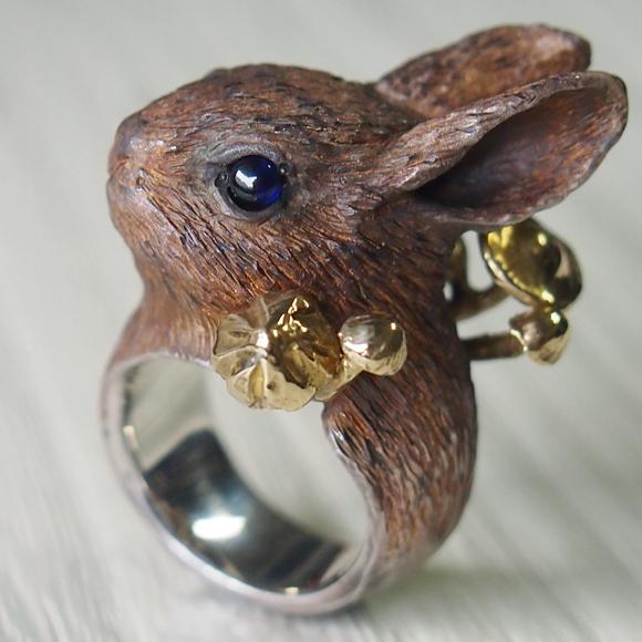 DECOvienya(デコヴィーニャ) 手作りアクセサリー ウサギきのこリング シルバー [DE-090]