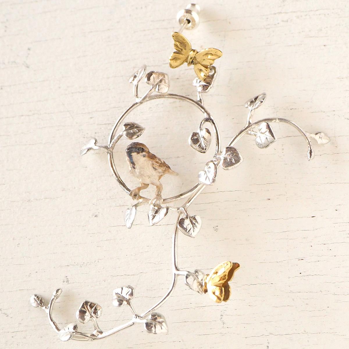 DECOvienya(デコヴィーニャ) 手作りアクセサリー スズメとつる草のピアス シルバー&真鍮 片耳 [DE-136]