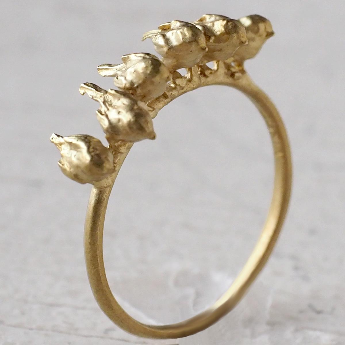 DECOvienya(デコヴィーニャ)手作りアクセサリー エナガいっぱいリング ゴールド [DE-151G]