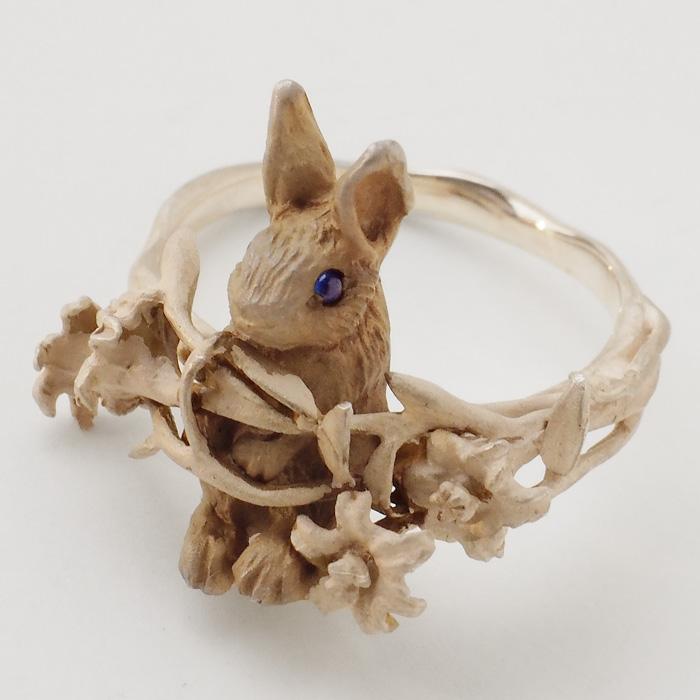 DECOvienya(デコヴィーニャ) 手作りアクセサリー ウサギとユリのリング シルバー925 レディース [DE-161]
