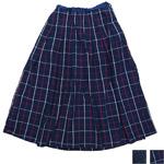 【2種類から選べます】DEEP BLUE(ディープブルー)綿麻先染め チェックタックロングスカート [72323]