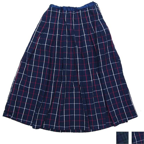 DEEP BLUE(ディープブルー)綿麻先染め チェックタックロングスカート [72323]