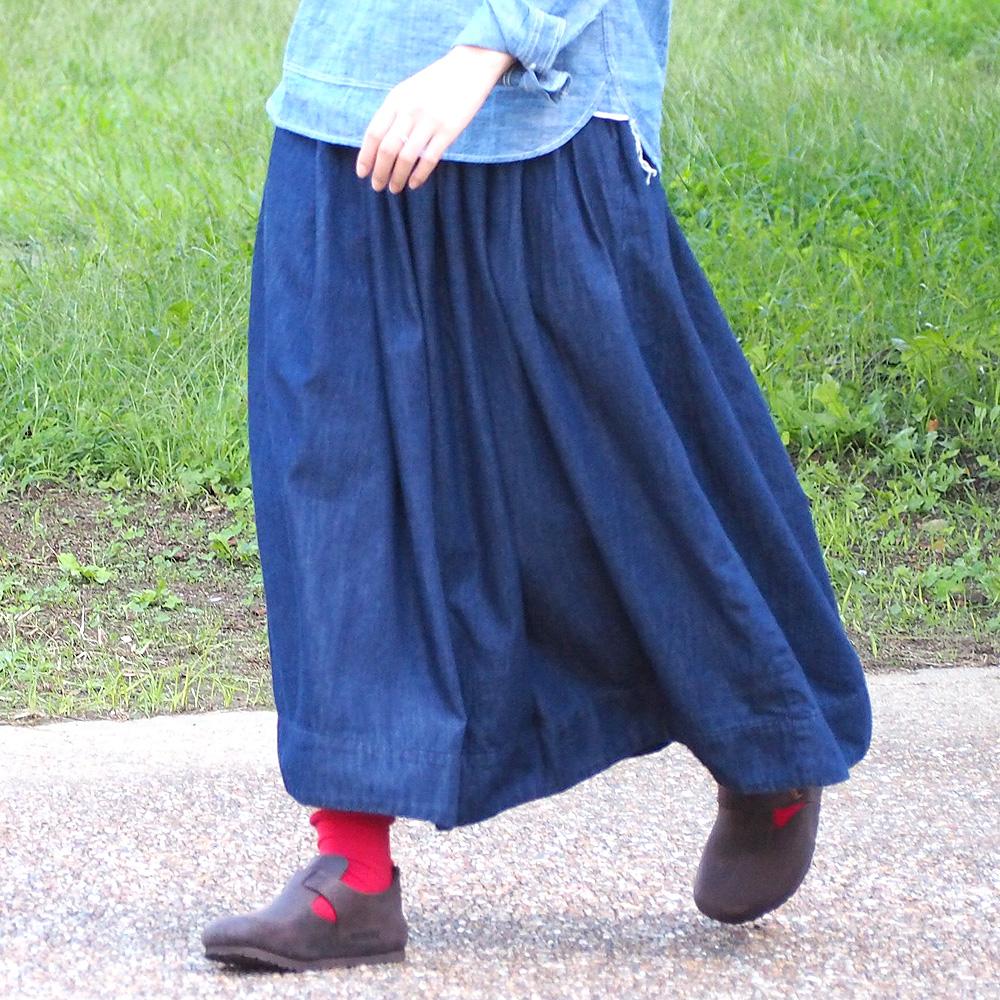 DEEP BLUE(ディープブルー) デニム ギャザースカート ワンウォッシュ ミモレ丈 [72845]