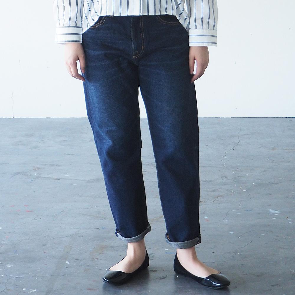 DEEP BLUE(ディープブルー) 12.5オンス 甘織デニム ボーイフレンドデニム アンクル丈 ダークブルー [73388-3]