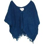 【30%OFF!】DEEP BLUE(ディープブルー) ライトカディ 手つむぎ・手織り 刺繍ストールベスト [73798]