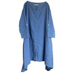 DEEP BLUE(ディープブルー) ガーゼインディゴ抜染小花柄 8分袖プルオーバーワンピース [73997]
