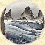 絵師 冬奇 絵画作品 連作『メールストロムの旋渦』 No.2 —灰色の海獣—