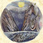 絵師 冬奇 絵画作品 連作『メールストロムの旋渦』 No.4 —咆哮月下—
