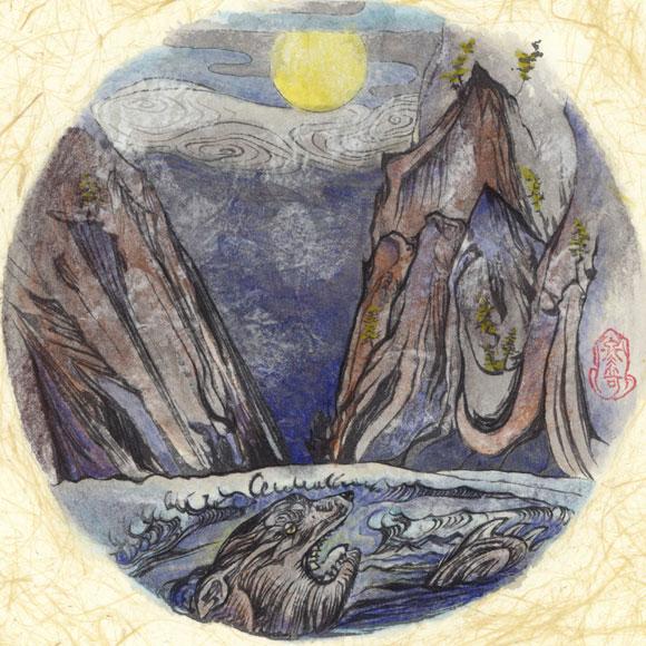 絵師 冬奇 絵画作品 連作『メールストロムの旋渦』 No.4 —咆哮月下—[FU-PIC04]