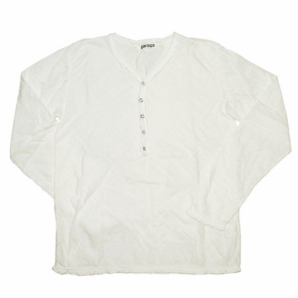 ガーゼ服工房 garage(ガラージ)ダブルガーゼ Vネック前開きTシャツ 長袖 メンズ [TS-45-LS]