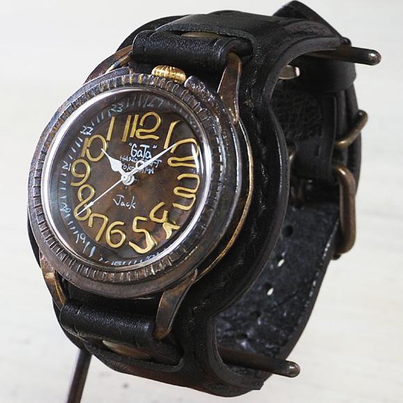 """GaTa"" watch smith(ガタ ウォッチ スミス)潟口真功 手作り腕時計 JackII 真鍮×銅 クオーツラウンド型 メタル文字盤 Wストラップ [GA-G52-ME]"