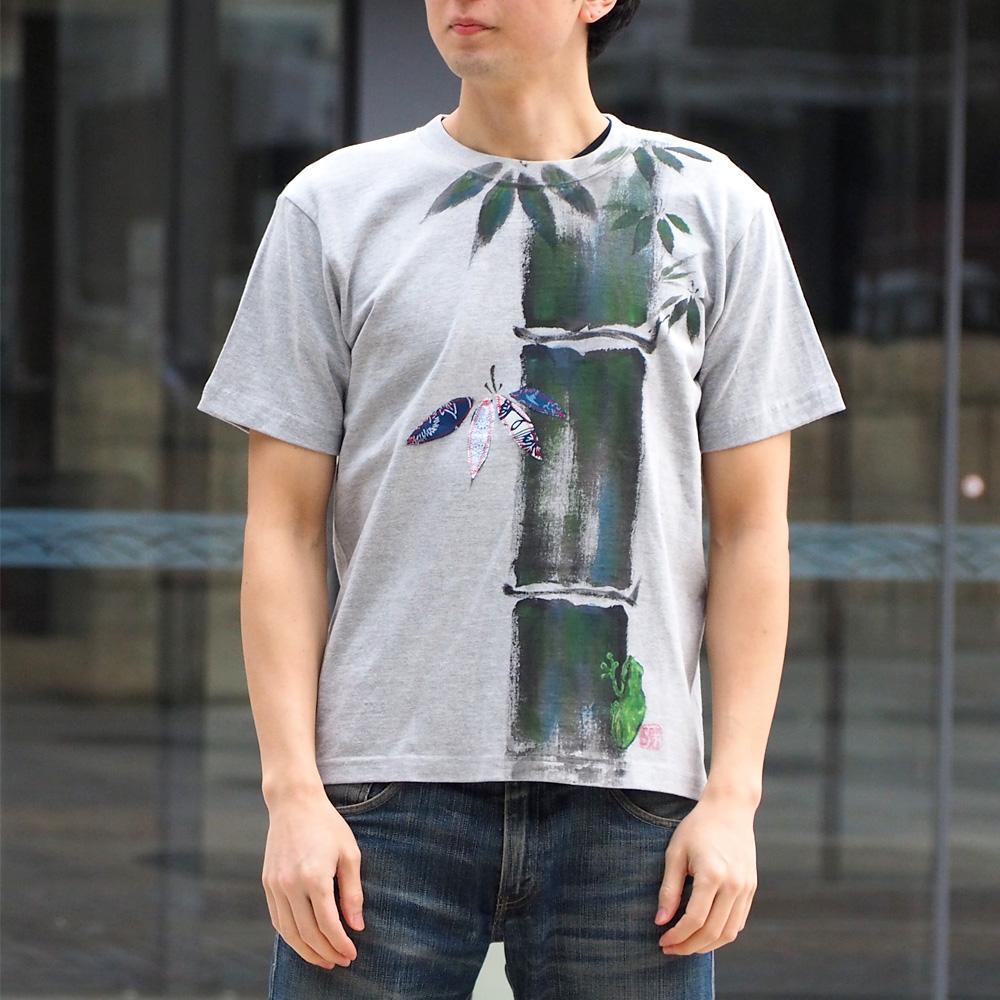 GEN SENCE(ゲンセンス) 和柄手描き&リメイク 半袖Tシャツ 「嵯峨野の孟宗竹」 蛙 杢グレー メンズ・レディース [GS-TS-SS01]