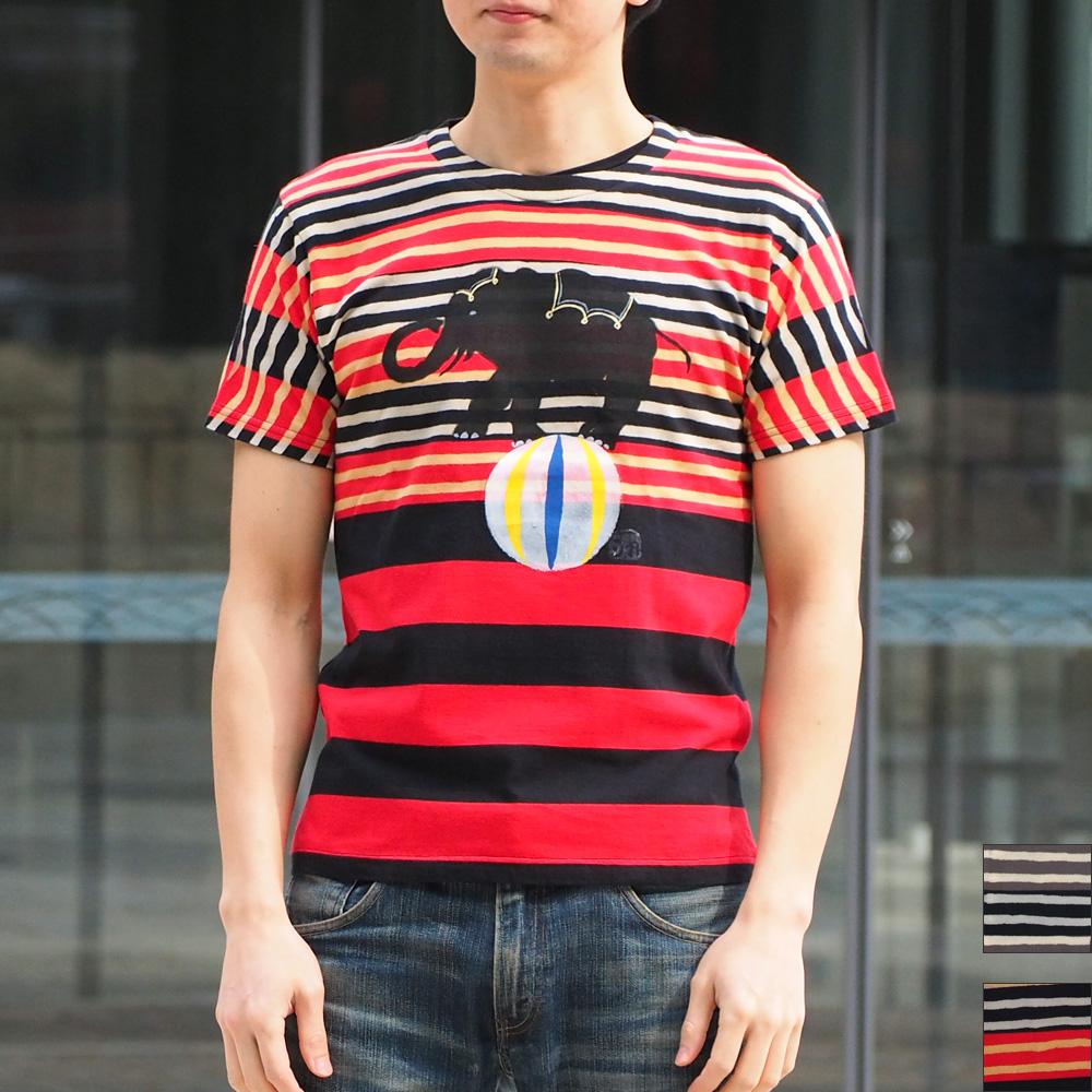 GEN SENCE(ゲンセンス) 手描き&抜染 半袖Tシャツ 「サーカス」 ゾウとピエロ ボーダー メンズ[GS-TS-SS05]