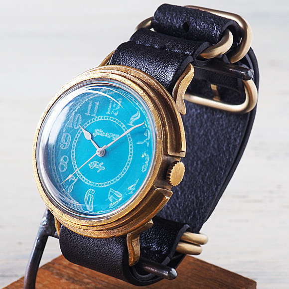 GENSO(ゲンソウ) 手作り腕時計 コバルトターコイズブルー アラビア数字文字盤 真鍮 NATOレザーベルト メンズ・レディース[CTB-AR-BS2]