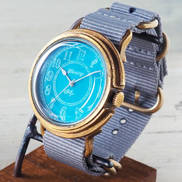 GENSO(ゲンソウ) 手作り腕時計 コバルトターコイズブルー アラビア数字文字盤 真鍮 NATOナイロンベルト メンズ・レディース[CTB-AR-BS3]
