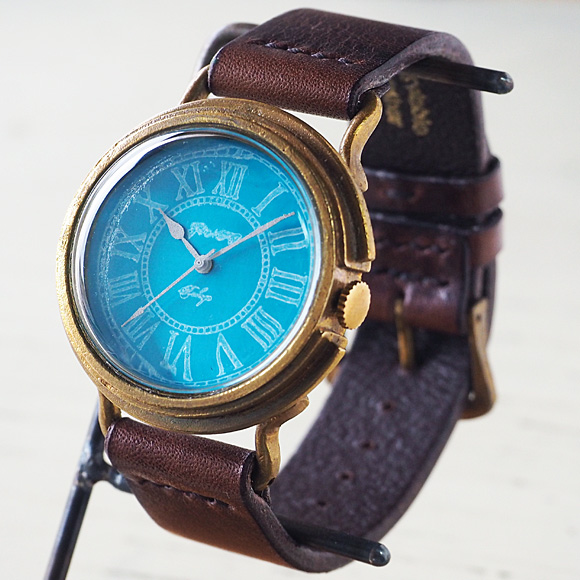 GENSO(ゲンソウ) 手作り腕時計 コバルトターコイズブルー ローマ数字文字盤 真鍮 イタリアンレザー メンズ・レディース[CTB-RO-BS1]