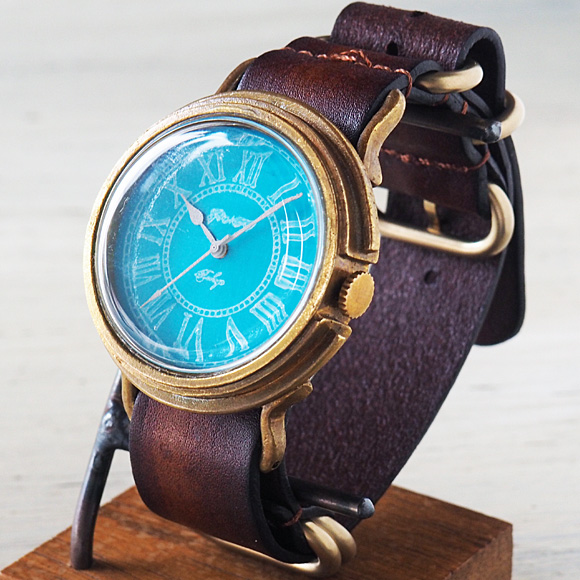 GENSO(ゲンソウ) 手作り腕時計 コバルトターコイズブルー ローマ数字文字盤 真鍮 NATOレザーベルト メンズ・レディース[CTB-RO-BS2]