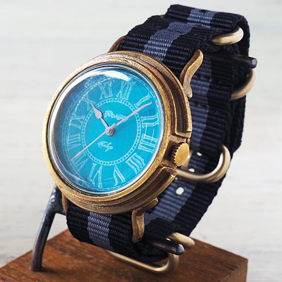 GENSO(ゲンソウ) 手作り腕時計 コバルトターコイズブルー ローマ数字文字盤 真鍮 NATOナイロンベルト メンズ・レディース[CTB-RO-BS3]