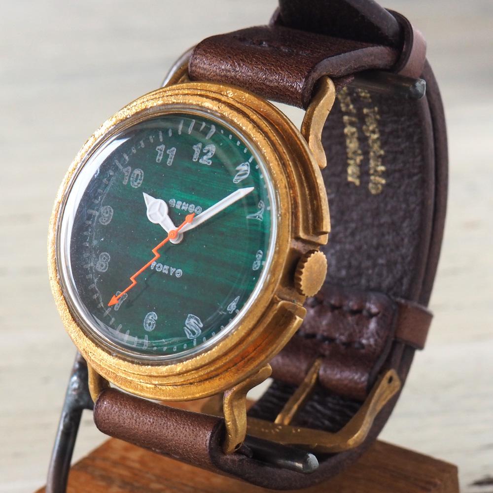 GENSO(ゲンソウ) 手作り腕時計 ミリタリーカジュアル グリーン ミリタリーウォッチ 緑文字盤 イタリアンレザー メンズ・レディース[MCG-BS1]