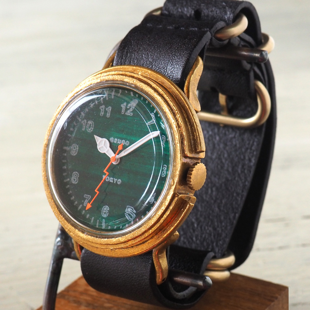 GENSO(ゲンソウ) 手作り腕時計 ミリタリーカジュアル グリーン ミリタリーウォッチ 緑文字盤 NATOレザーベルト[MCG-BS2]