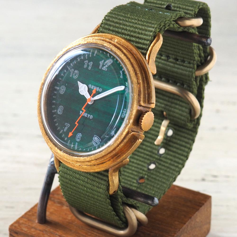GENSO(ゲンソウ) 手作り腕時計 ミリタリーカジュアル グリーン ミリタリーウォッチ 緑文字盤 NATOナイロンベルト[MCG-BS3]